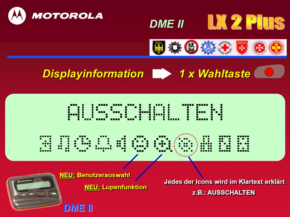 Displayinformation 1 x Wahltaste