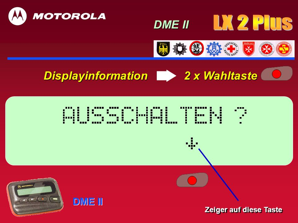 Displayinformation 2 x Wahltaste