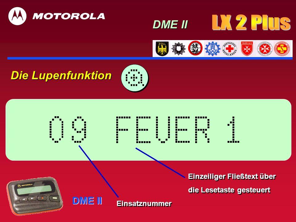 LX 2 Plus DME II Die Lupenfunktion DME II Einzeiliger Fließtext über