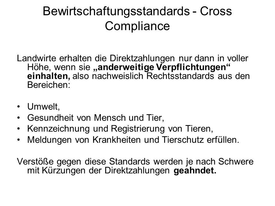 Bewirtschaftungsstandards - Cross Compliance