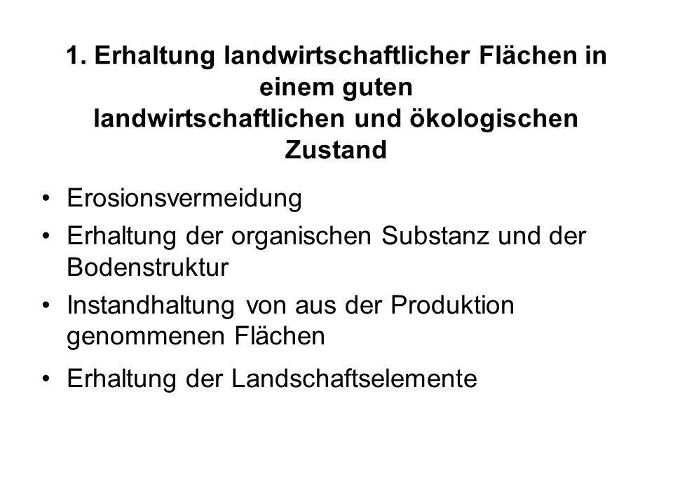 1. Erhaltung landwirtschaftlicher Flächen in einem guten landwirtschaftlichen und ökologischen Zustand