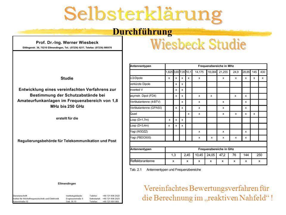 Selbsterklärung Wiesbeck Studie Durchführung