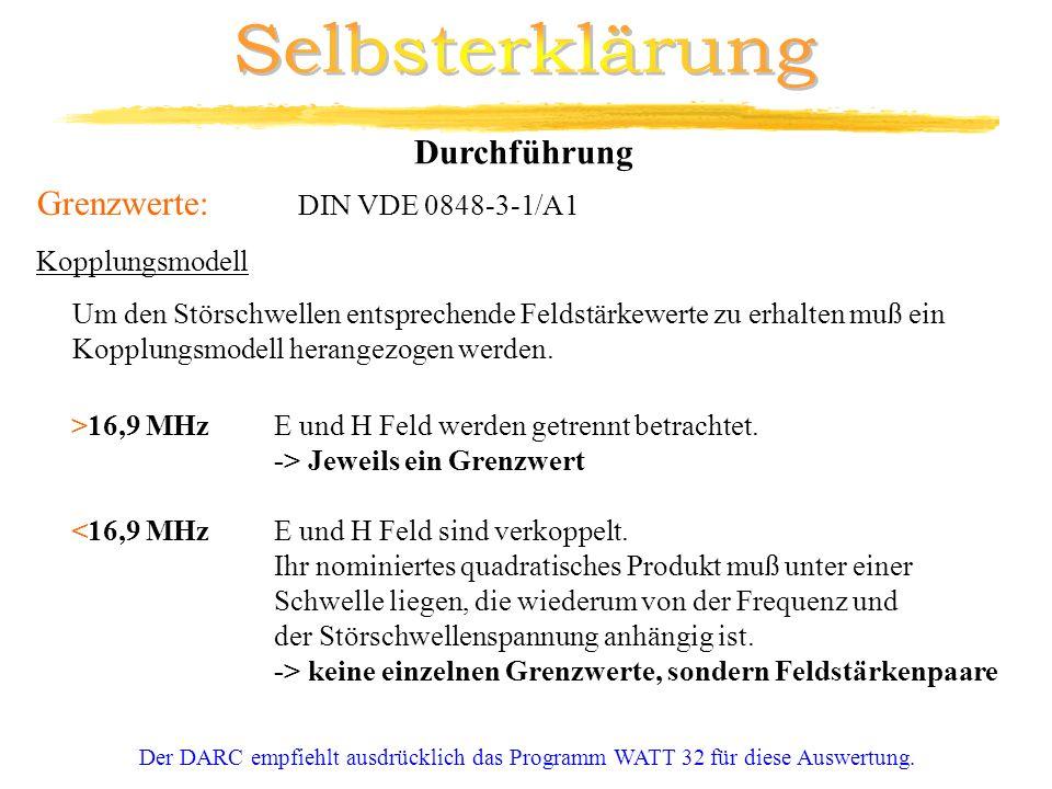 Selbsterklärung Durchführung Grenzwerte: DIN VDE 0848-3-1/A1
