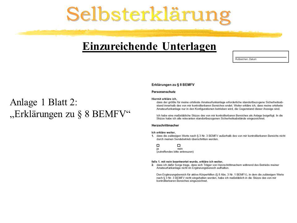 Selbsterklärung Einzureichende Unterlagen Anlage 1 Blatt 2: