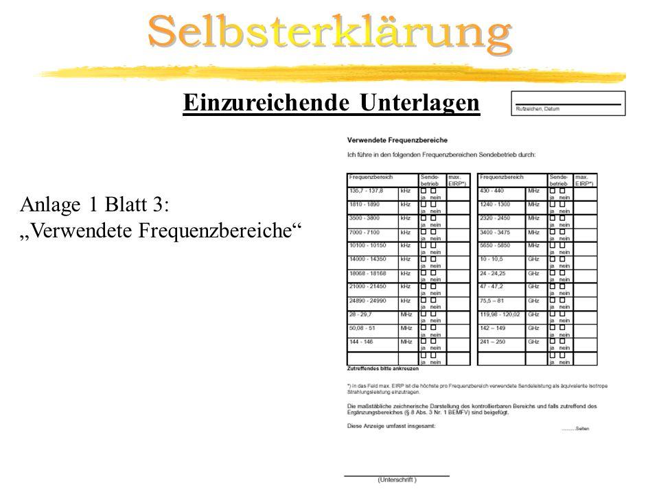 Selbsterklärung Einzureichende Unterlagen Anlage 1 Blatt 3: