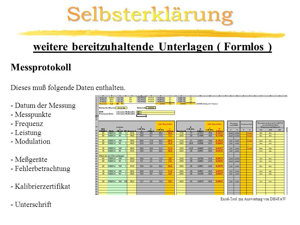 Excel-Tool zur Auswertung von DH4FAW