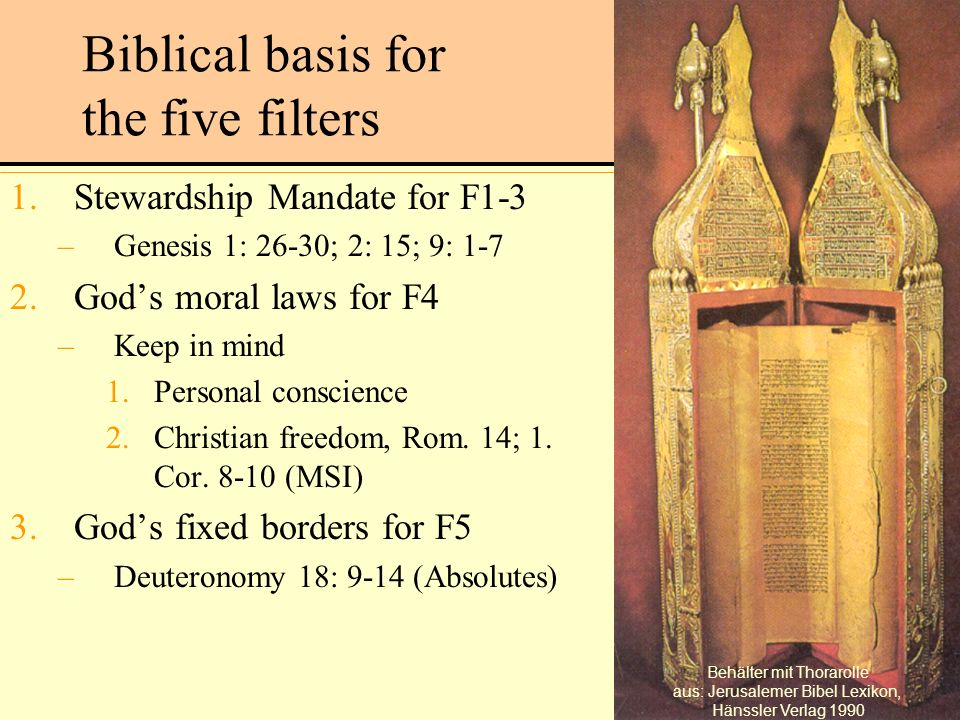 Biblical basis for the five filters