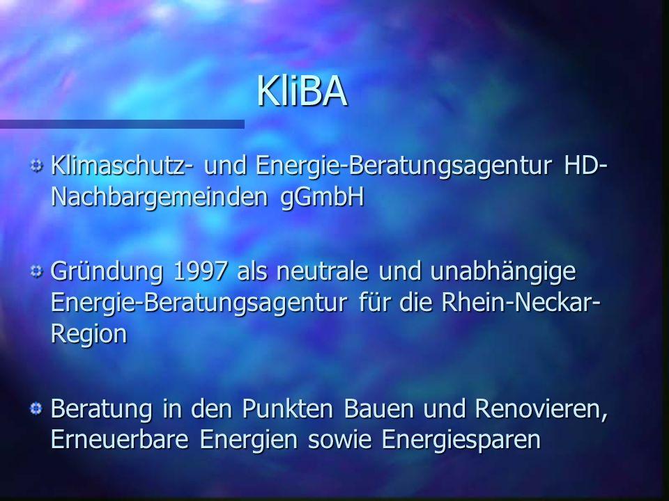 KliBA Klimaschutz- und Energie-Beratungsagentur HD-Nachbargemeinden gGmbH.