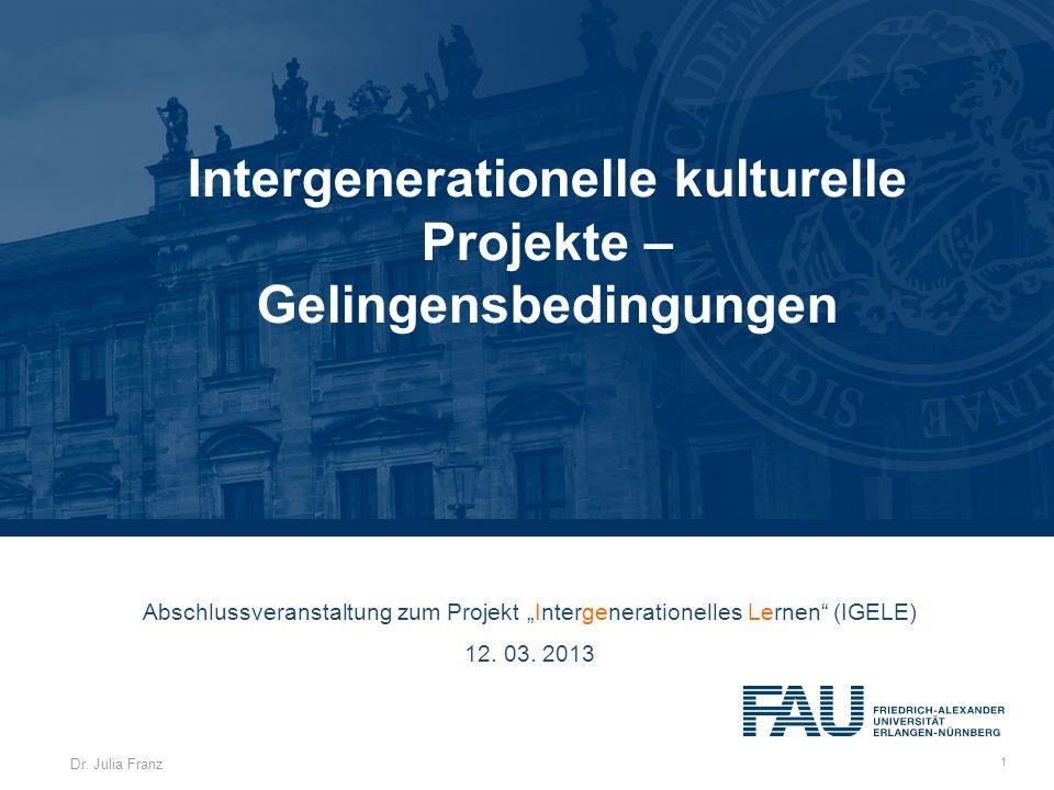 Intergenerationelle kulturelle Projekte –