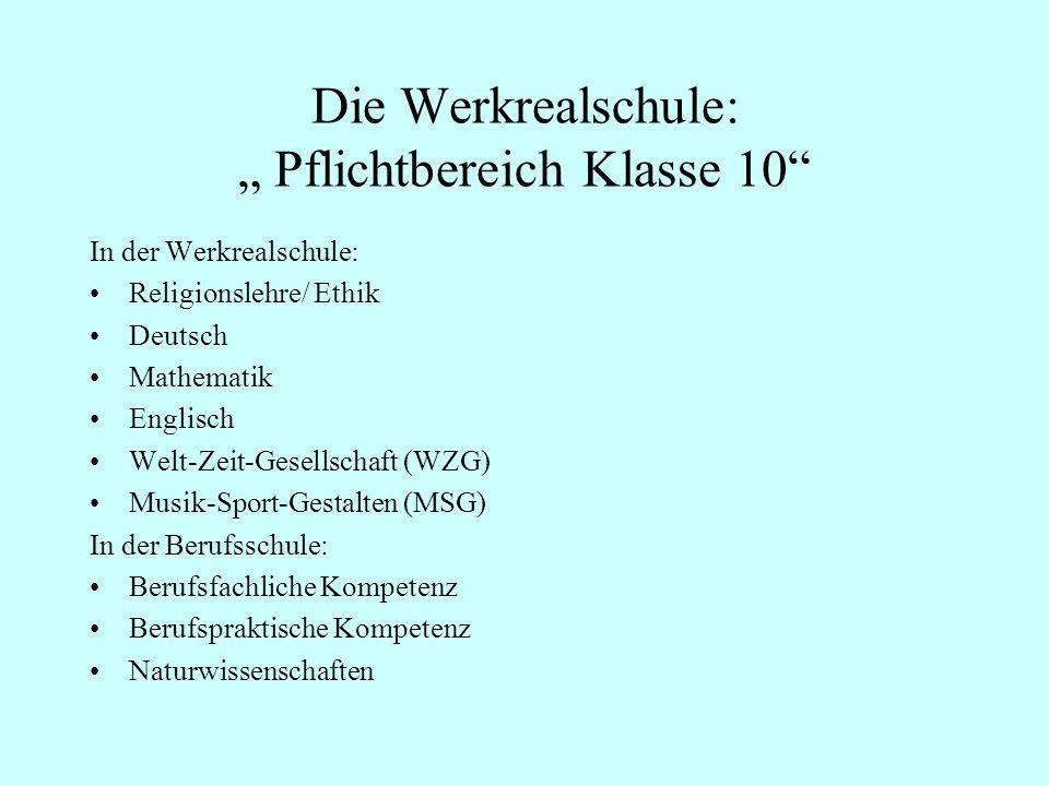 """Die Werkrealschule: """" Pflichtbereich Klasse 10"""
