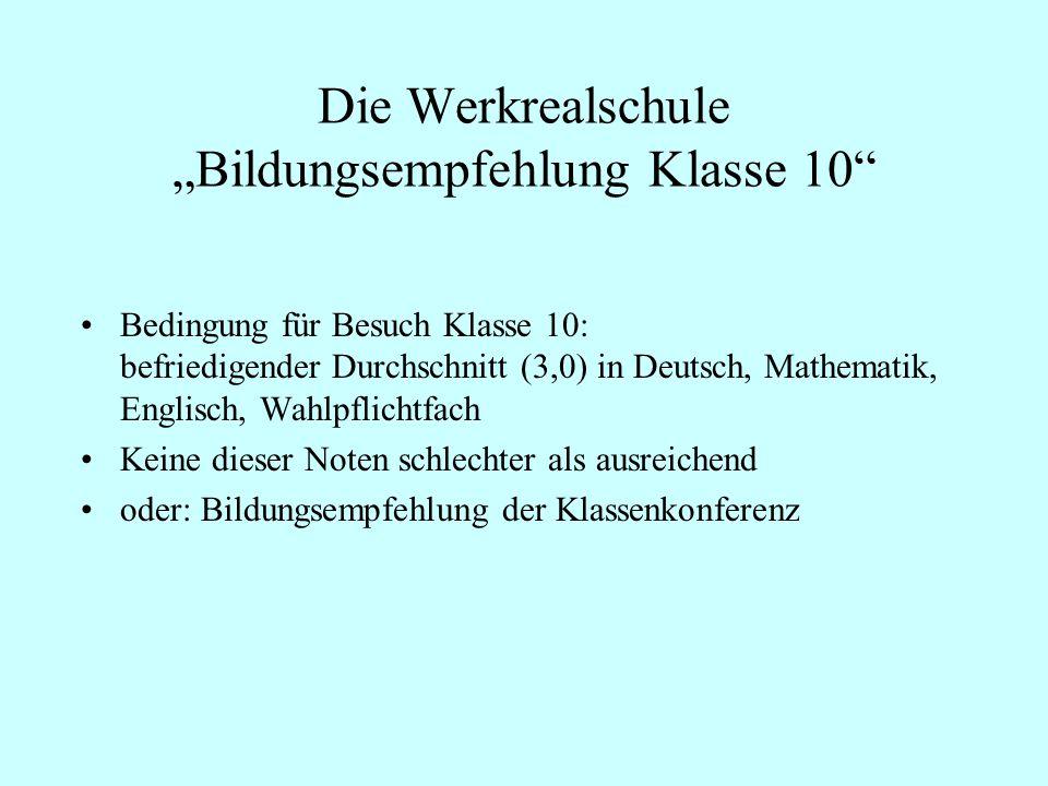 """Die Werkrealschule """"Bildungsempfehlung Klasse 10"""
