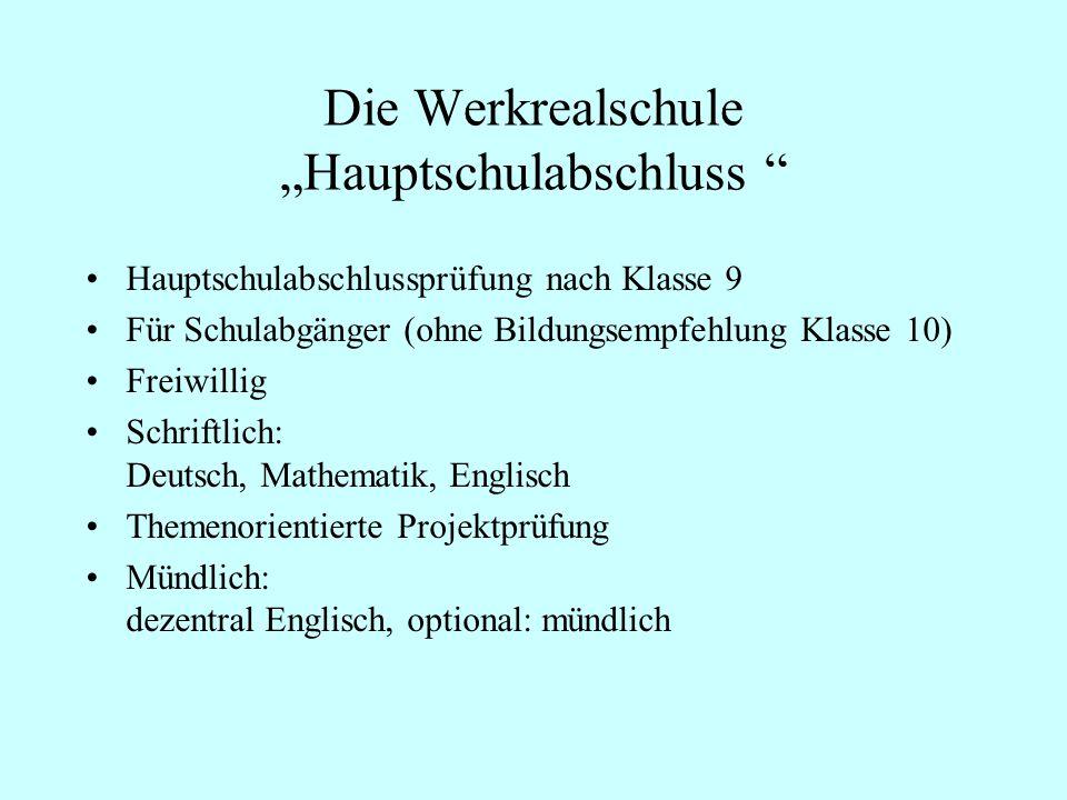 """Die Werkrealschule """"Hauptschulabschluss"""