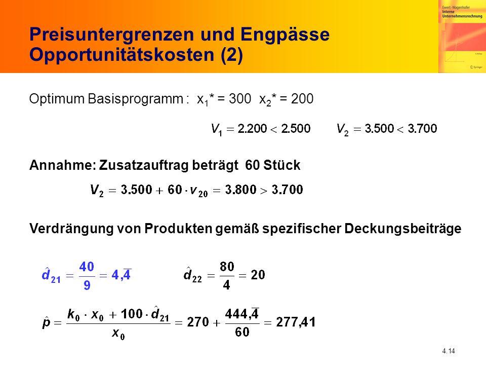 Preisuntergrenzen und Engpässe Opportunitätskosten (2)