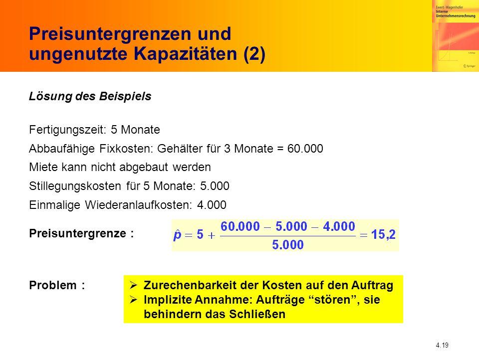 Preisuntergrenzen und ungenutzte Kapazitäten (2)