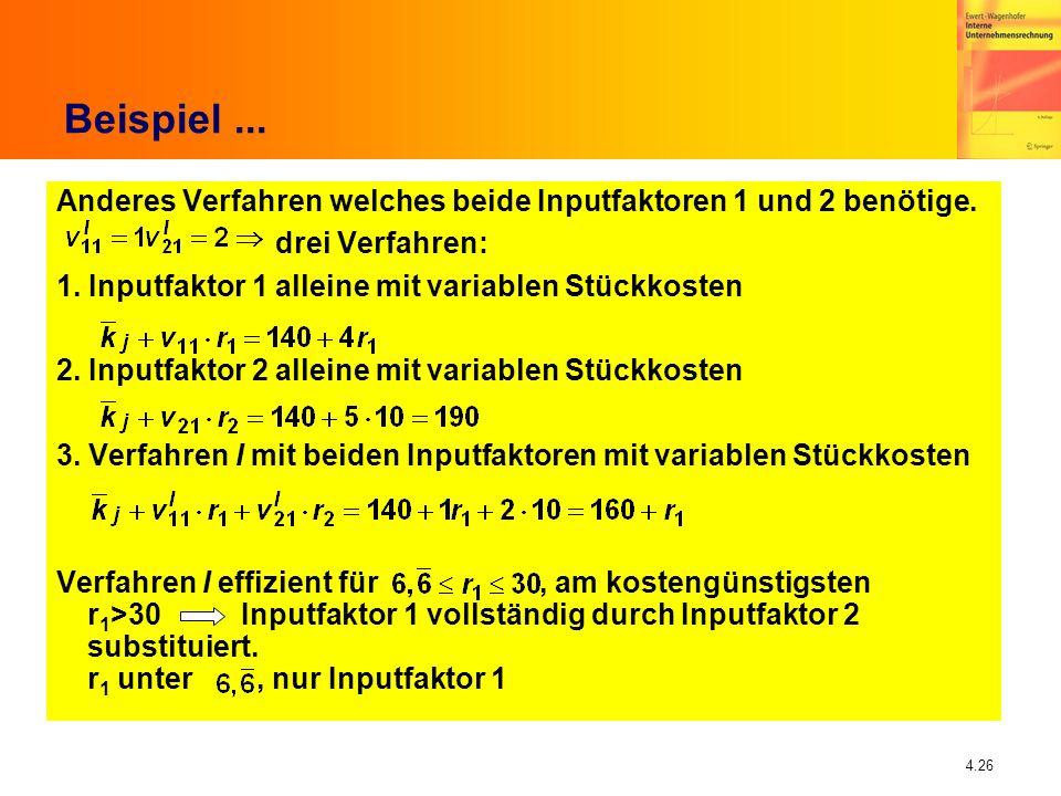 Beispiel ...Anderes Verfahren welches beide Inputfaktoren 1 und 2 benötige. drei Verfahren: 1. Inputfaktor 1 alleine mit variablen Stückkosten.
