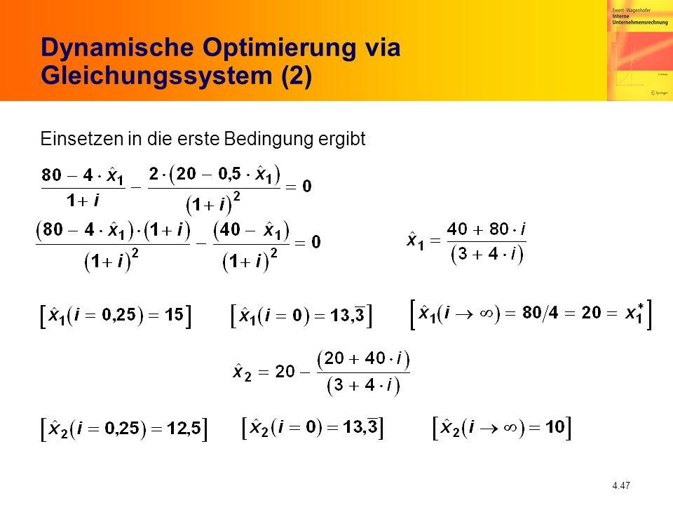 Dynamische Optimierung via Gleichungssystem (2)