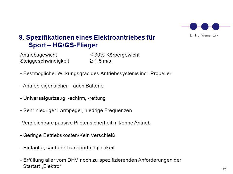 9. Spezifikationen eines Elektroantriebes für Sport – HG/GS-Flieger