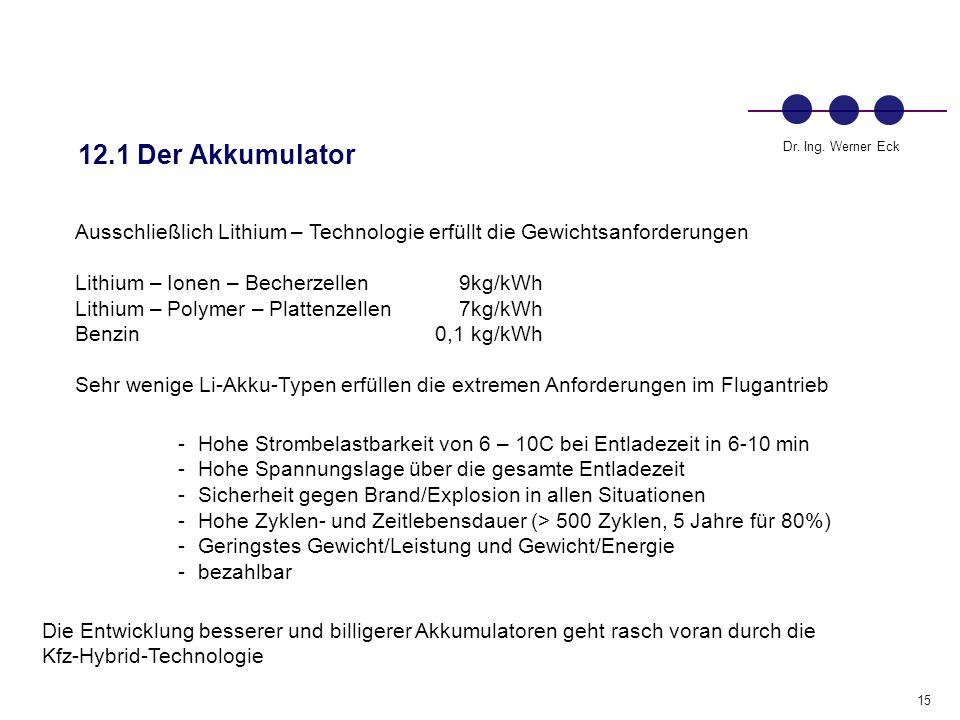 12.1 Der Akkumulator Ausschließlich Lithium – Technologie erfüllt die Gewichtsanforderungen. Lithium – Ionen – Becherzellen 9kg/kWh.