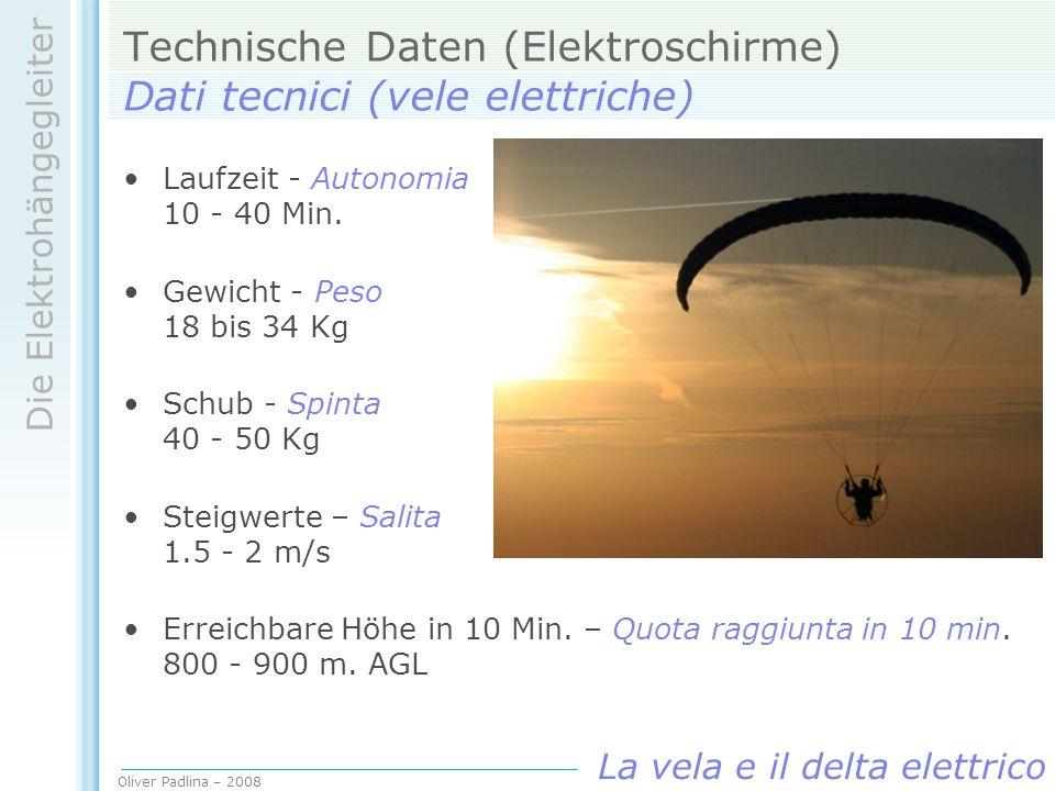 Technische Daten (Elektroschirme) Dati tecnici (vele elettriche)