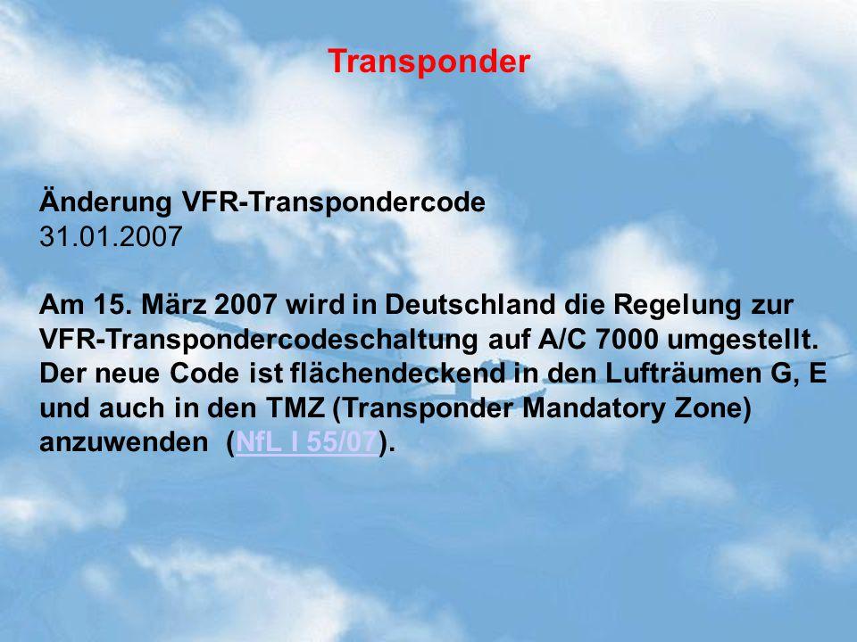 Transponder Änderung VFR-Transpondercode 31.01.2007