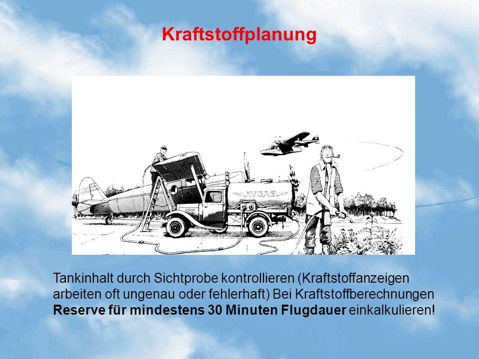 Kraftstoffplanung Kraftstoffvorrat / Berechnung bei Überlandflügen. Tankinhalt durch Sichtprobe kontrollieren (Kraftstoffanzeigen.