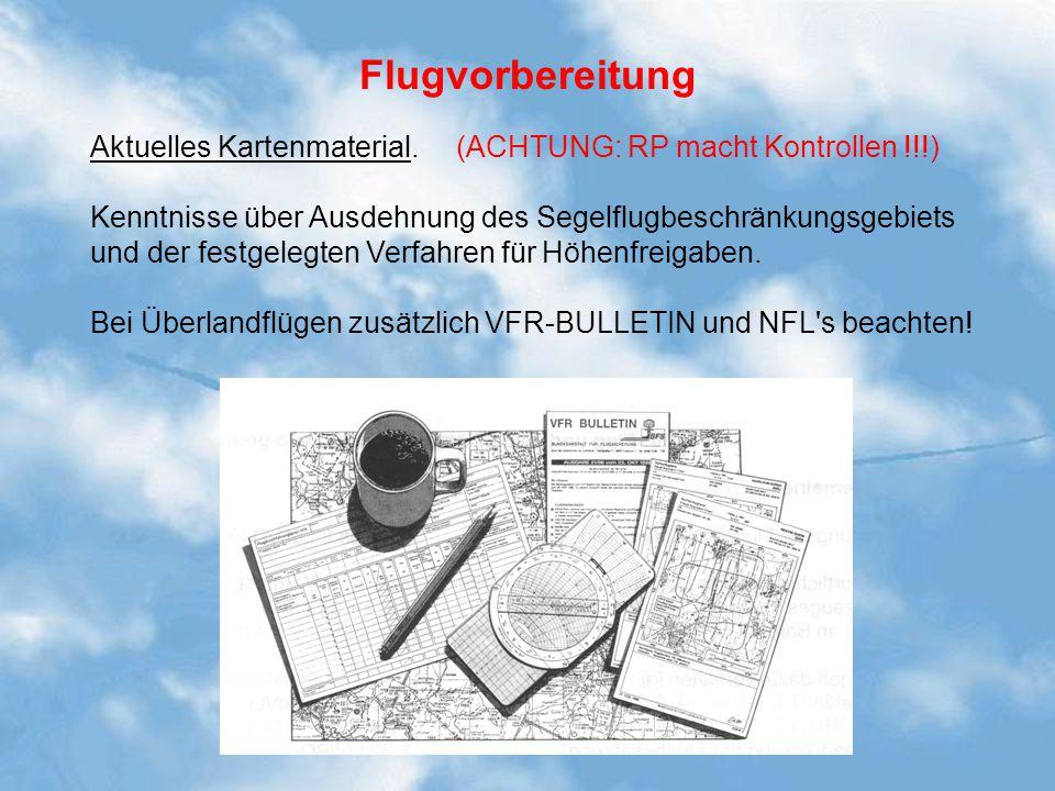 Flugvorbereitung Aktuelles Kartenmaterial. (ACHTUNG: RP macht Kontrollen !!!)