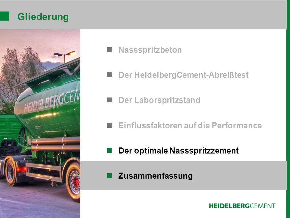 Gliederung Nassspritzbeton Der HeidelbergCement-Abreißtest