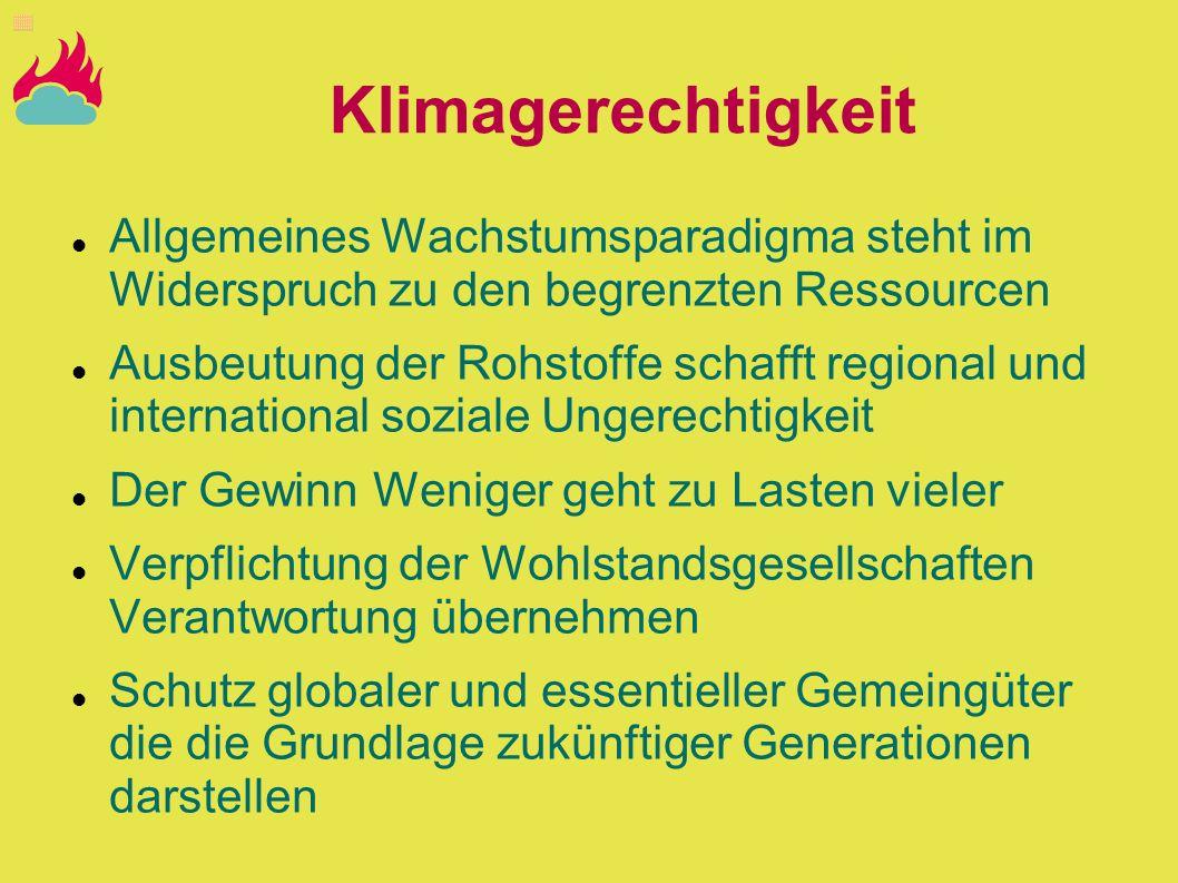 Klimagerechtigkeit Allgemeines Wachstumsparadigma steht im Widerspruch zu den begrenzten Ressourcen.