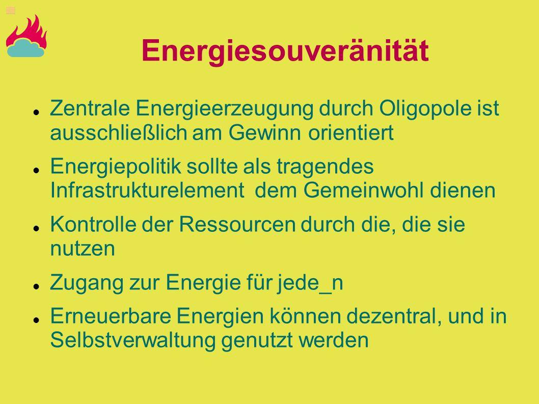 EnergiesouveränitätZentrale Energieerzeugung durch Oligopole ist ausschließlich am Gewinn orientiert.