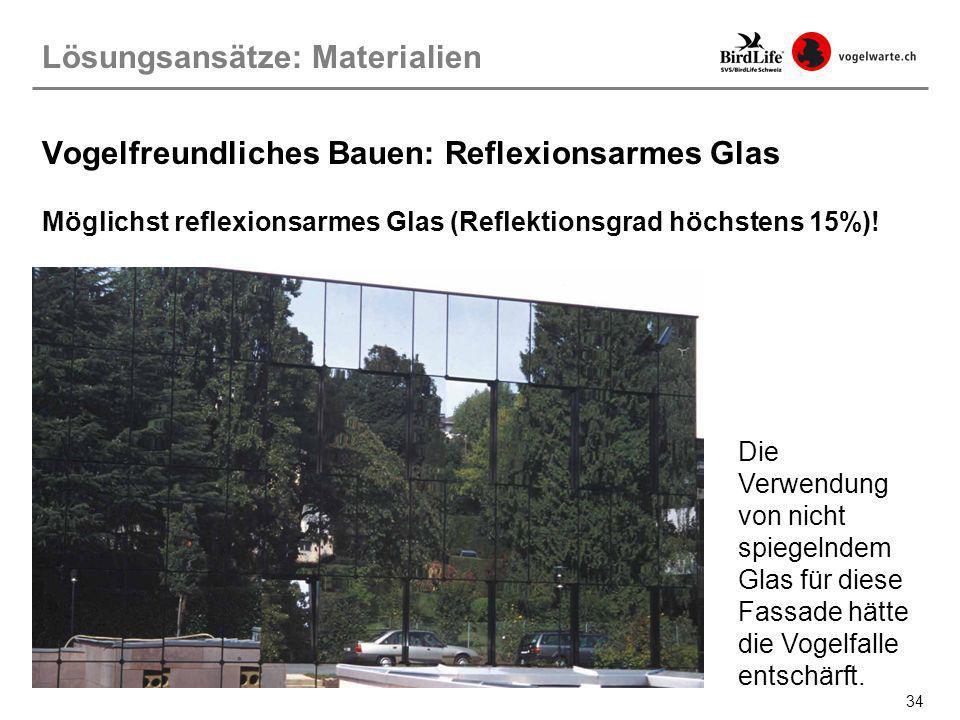 Vogelfreundliches Bauen: Reflexionsarmes Glas