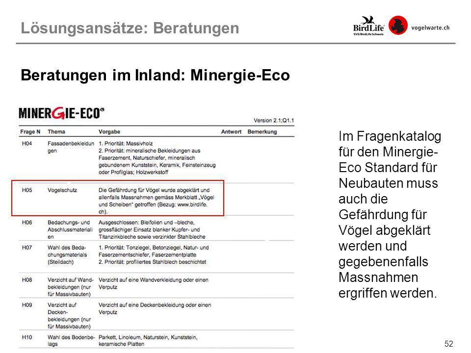 Beratungen im Inland: Minergie-Eco