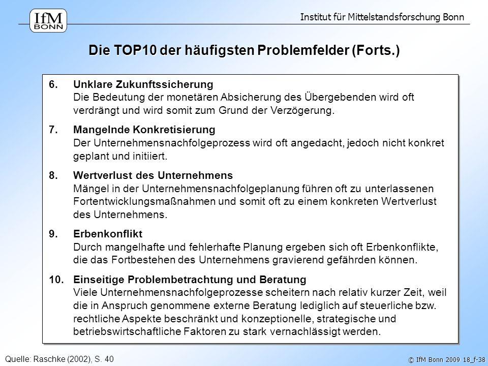 Die TOP10 der häufigsten Problemfelder (Forts.)