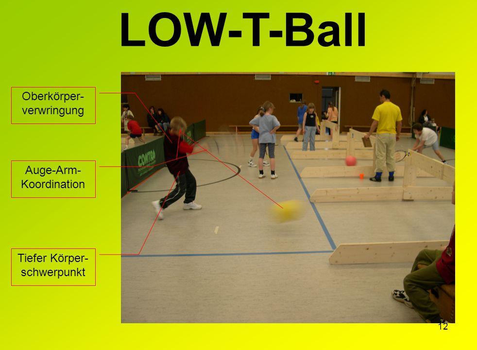 LOW-T-Ball Oberkörper-verwringung Auge-Arm-Koordination