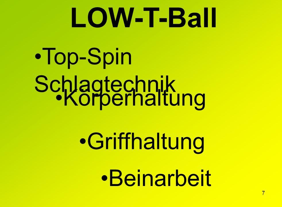 LOW-T-Ball Top-Spin Schlagtechnik Körperhaltung Griffhaltung