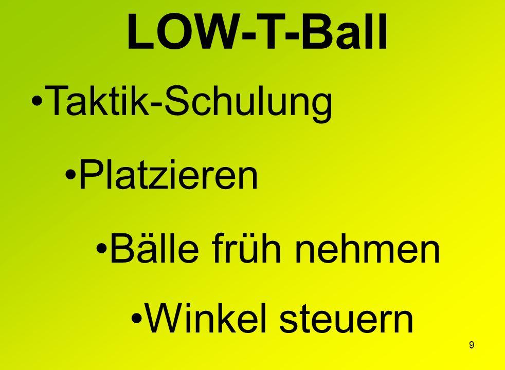 LOW-T-Ball Taktik-Schulung Platzieren Bälle früh nehmen Winkel steuern