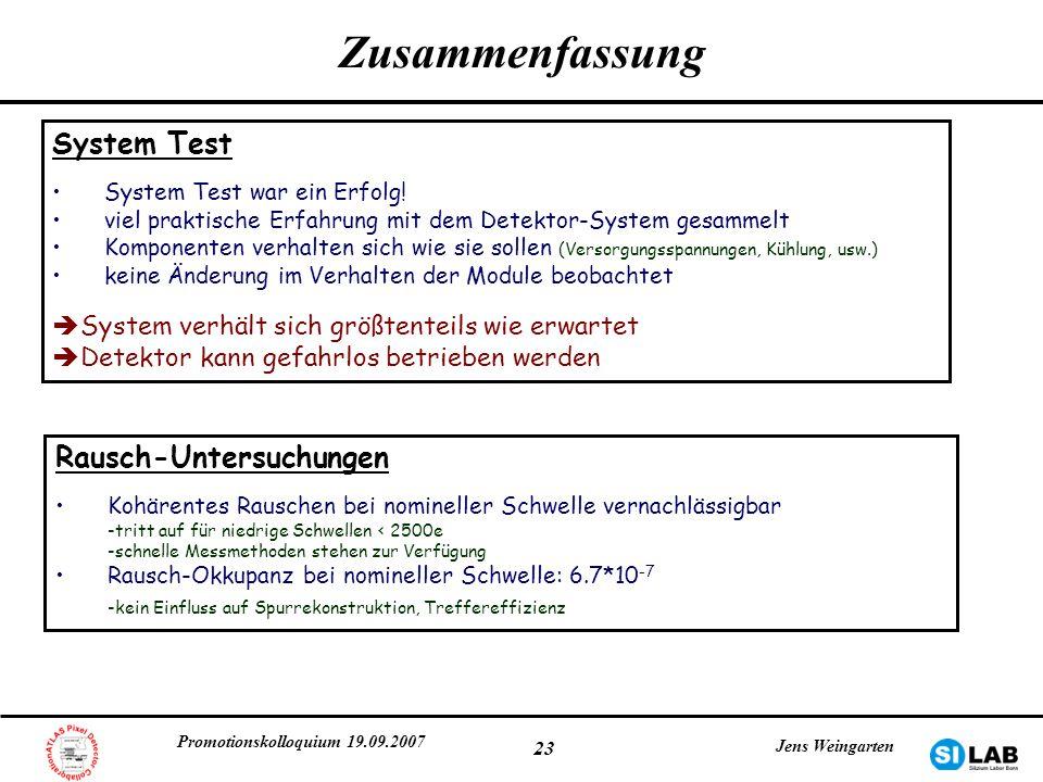 Zusammenfassung System Test Rausch-Untersuchungen