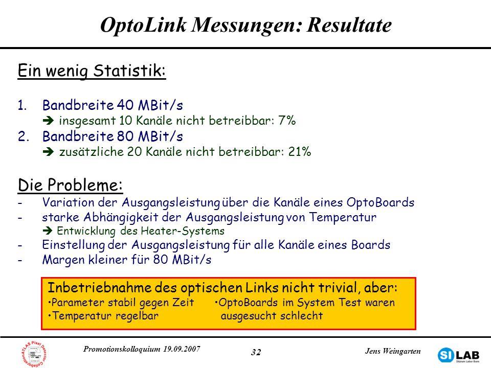OptoLink Messungen: Resultate