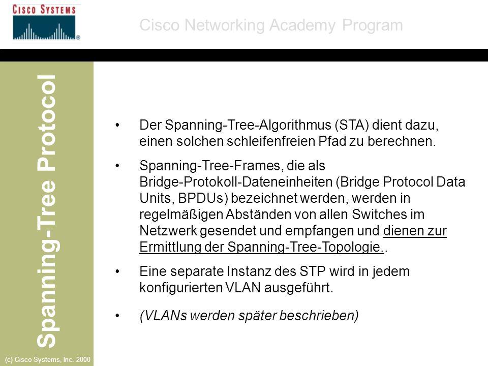 Der Spanning-Tree-Algorithmus (STA) dient dazu, einen solchen schleifenfreien Pfad zu berechnen.