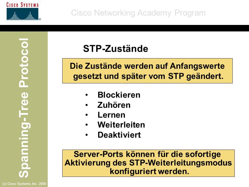 STP-Zustände Die Zustände werden auf Anfangswerte gesetzt und später vom STP geändert. Blockieren.