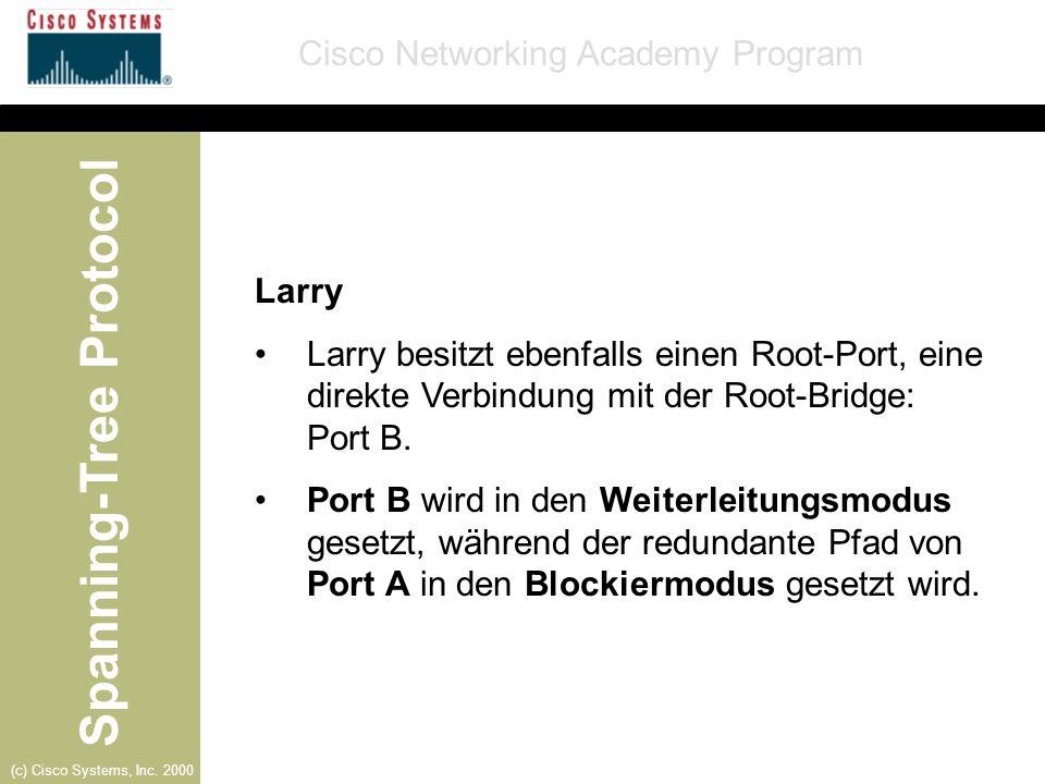 Larry Larry besitzt ebenfalls einen Root-Port, eine direkte Verbindung mit der Root-Bridge: Port B.