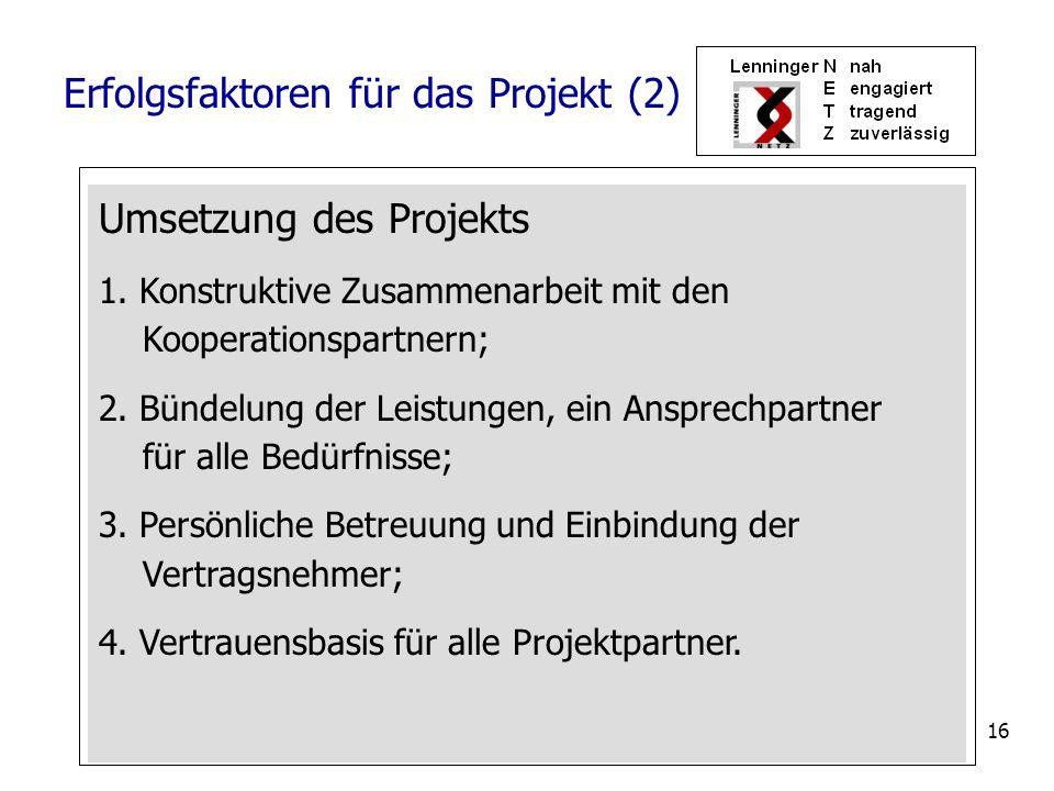Erfolgsfaktoren für das Projekt (2)