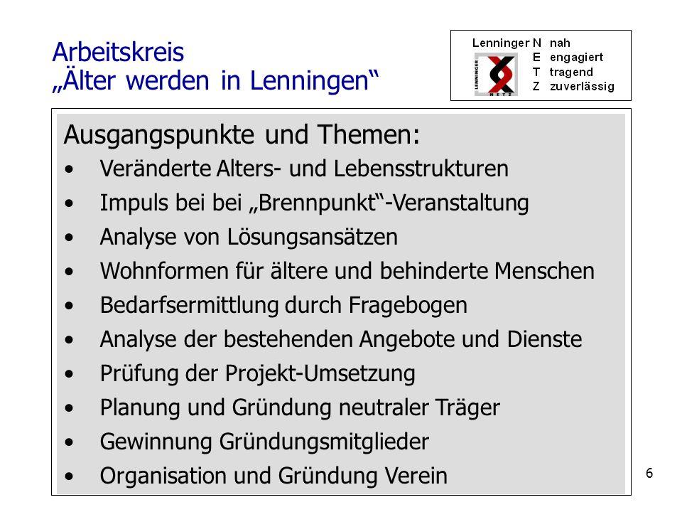 """Arbeitskreis """"Älter werden in Lenningen"""