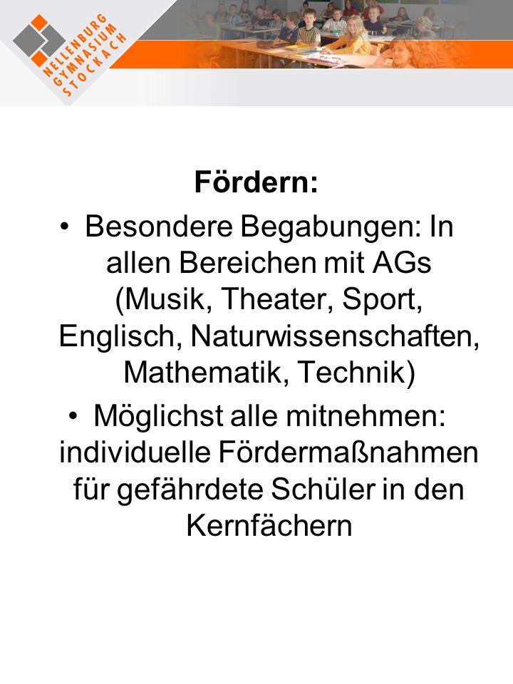 Fördern: Besondere Begabungen: In allen Bereichen mit AGs (Musik, Theater, Sport, Englisch, Naturwissenschaften, Mathematik, Technik)