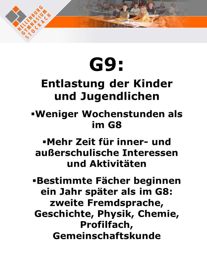 G9: Entlastung der Kinder und Jugendlichen