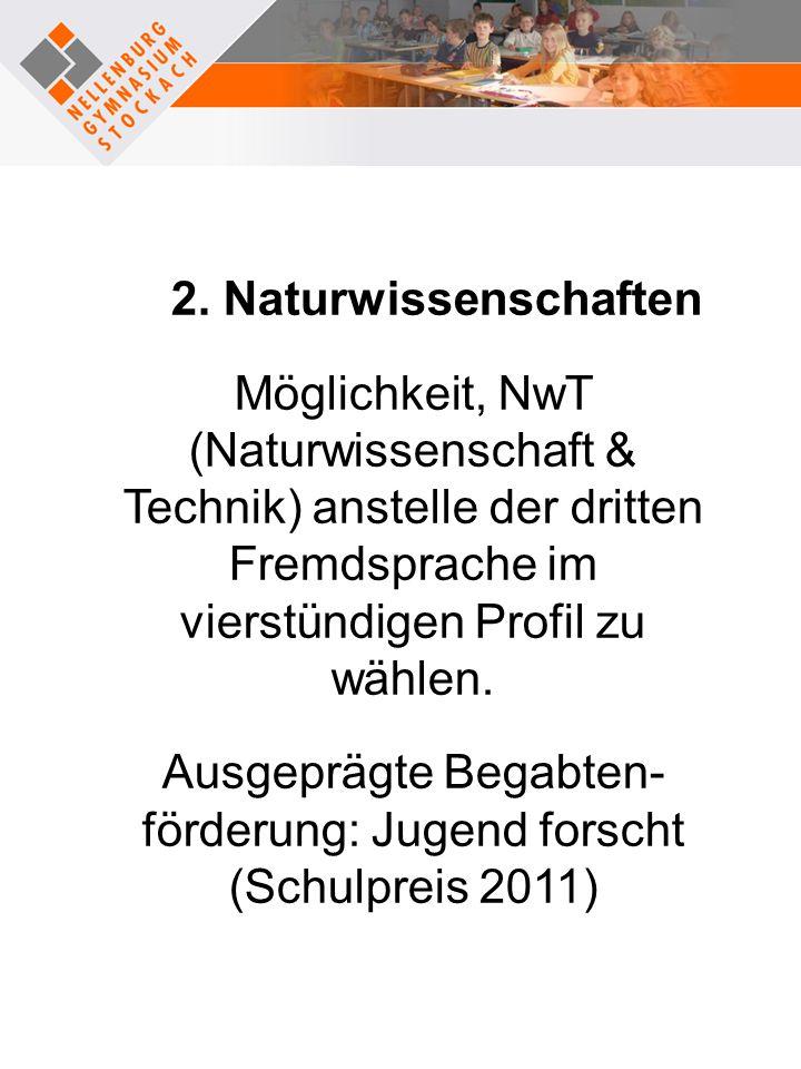 Ausgeprägte Begabten-förderung: Jugend forscht (Schulpreis 2011)