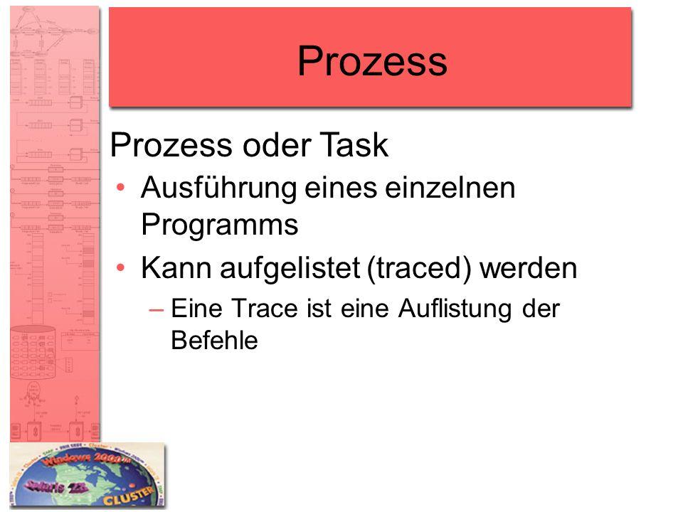 Prozess Prozess oder Task Ausführung eines einzelnen Programms