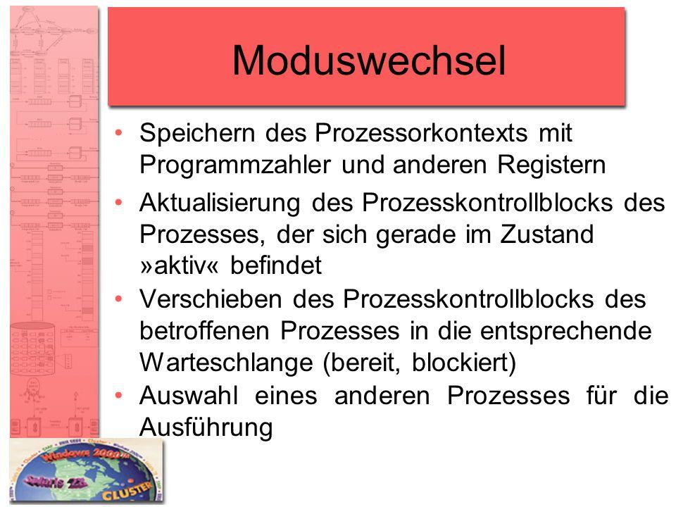 Moduswechsel Speichern des Prozessorkontexts mit Programmzahler und anderen Registern.