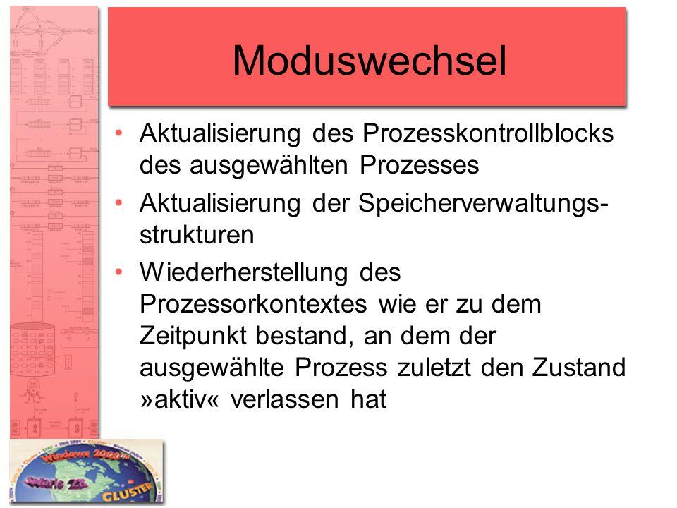 Moduswechsel Aktualisierung des Prozesskontrollblocks des ausgewählten Prozesses. Aktualisierung der Speicherverwaltungs-strukturen.