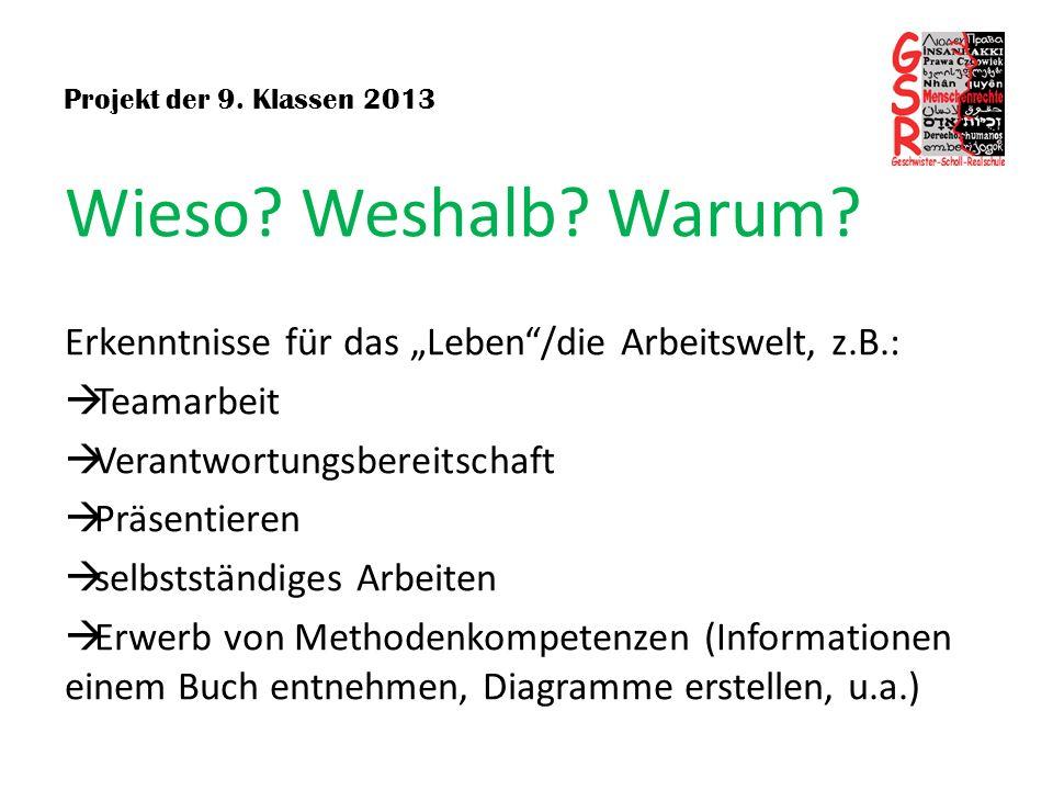 """Projekt der 9. Klassen 2013 Wieso Weshalb Warum Erkenntnisse für das """"Leben /die Arbeitswelt, z.B.:"""