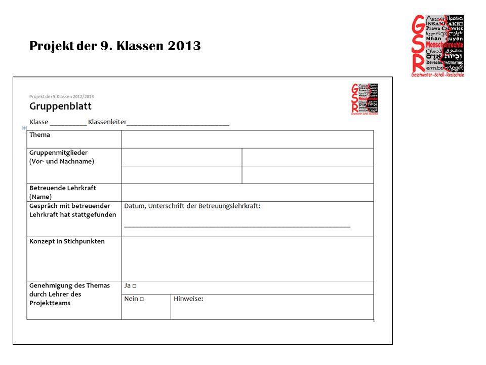 Projekt der 9. Klassen 2013